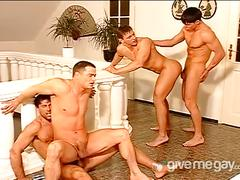 Orgy of steamy anal fucking hunks