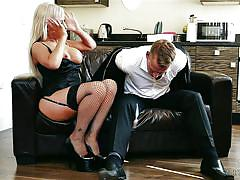 Hot milf pampers her husband