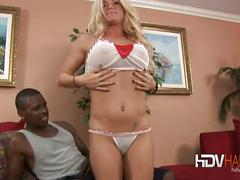 Busty blonde crista screws big black cock