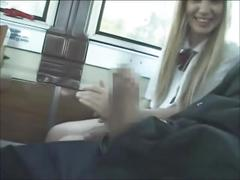Hot blonde student giving hands and heads in public transport