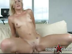 Hot blonde jc simpson rides a hard rod of meat