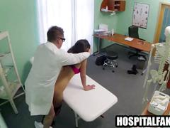 Hot brunette patient gets fucock produces vocal orgasms from horny patient 720 4