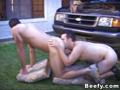 Wild and beefy hunks fucks hard in bareback sex