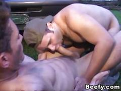 Wild and beefy hunks fucks hard in bareback sex