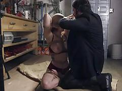Hot milf gets tied up by her girlfriend's jealous husband
