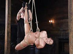 milf, caning, bdsm, big boobs, brunette, pussy torture, black gloves, rope bondage, foot torture, suspension, hogtied, kink, the pope, angela white