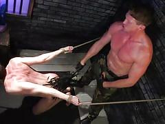 Cock-hungry slave gets flogged, rimmed, and reamed