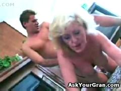 Granny fucked on the floor doggy she gets a facial and swallows