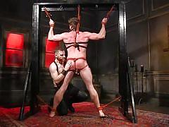 Two gay lovers enjoy bondage and sucking dick