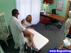 Real blonde patient fingered and fucked