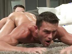 Muscled daddies banging on the floor