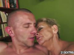 Mature blonde enjoys cock