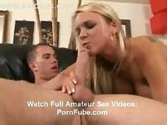 Amateur busty blonde babe giving head and cock riding