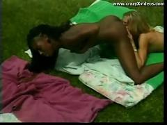 blonde, outdoor, interracial, blowjob, asslicking