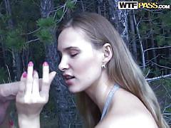 Ester sucks her lover's cock in the woods