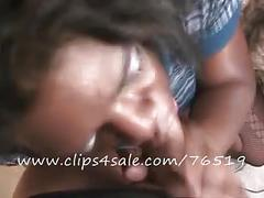Facial from 8inch curved latin dick-cfnm blowjob