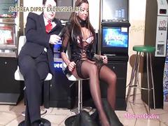 Mistress godiva ballbusts a slave for andrea diprè