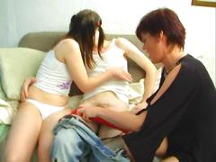 Mother and girlfriend seduce a guy