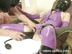 Slave slut fucked with a gigantic inflatable dildo in her loose hairy cunt