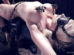 bdsm, fetish, busty, vibrator, blonde milf, pussy fingering, metal bondage, clamps on tits, device bondage, kink, holly heart, orlando