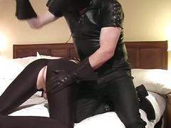 Daddy shadow spandex suit spanking and leather blowjobs