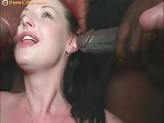 Four big black dicks versus this pigtailed girl