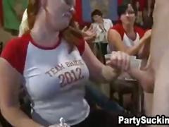 Shy women sucking strippers