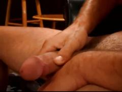 Horny men jerking his big cock.