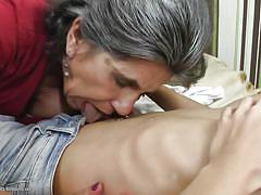 Granny loves to suck younger tits