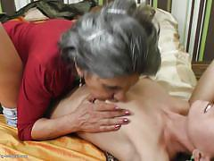lesbian, mature, old young, slim, brunette, short jeans, grey hair, tit sucking, old and young lesbians, mature nl, raquelle, isadora x