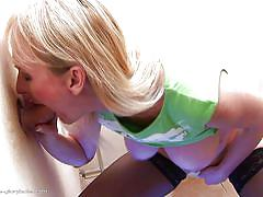 Blonde mature in stockings meets with gloryhole
