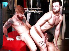 Hot three way gay interaccial with irish, latin and white studs