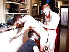Hot three way gay interaccial with irish, latin and white studs