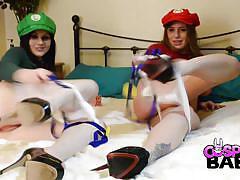 Cosplay babes mario girls stuffing tubes