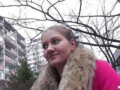Blond slut gives head in public