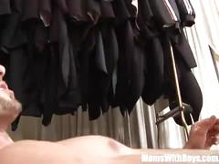 Old lady joanna depp fucks young boyfriend in dressing room