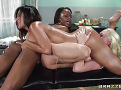 facesitting, blonde, lesbians, ebony, interracial, lesbian threesome, eating pussy, busty milfs, hot and mean, brazzers network, kaylani lei, marie luv, madison scott