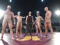 Five hunky gay wrestles have hardcore group sex