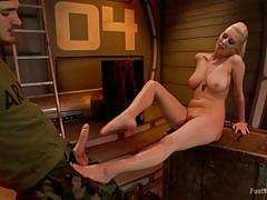 blonde, babe, foot job, tattooed, pierced, army, big breasts, foot worship, kink, cherry torn, christian wilde