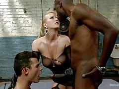 Blonde tricks a guy into sucking a big black dick