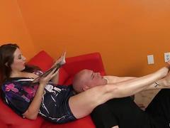 Shauna ryanne slaps her slave with her feet