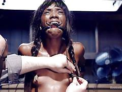 bondage, black, babe, interracial, vibrator, mouth gag, nipple clamp, metal bondage, device bondage, kink, sgt. major, ana foxxx