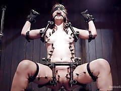 babe, blindfolded, brunette, sex machine, sex dungeon, metal bondage, clamps on tits, torture device, device bondage, kink, orlando, katharine cane