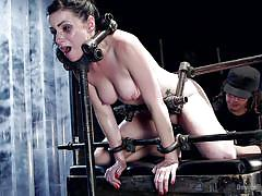 big tits, babe, torture, tied, vibrator, electro bdsm, latex clothing, metal bondage, device bondage, kink, orlando, veruca james