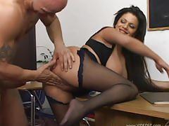 Secretary with huge boobs seduces boss