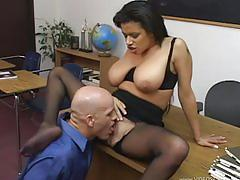 Secretary with huge boobs seduces boss
