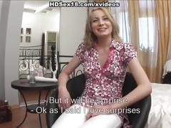 Naughty blonde's sex toys and creampie