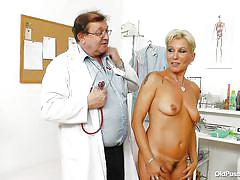 blonde, hospital, mature, czech, short hair, palpation, measuring, doc, medical fetish, old pussy exam, ellen xxxx