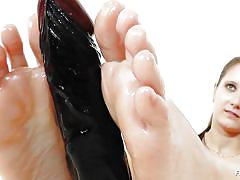 babe, solo, dildo, oiled feet, feet fetish, brown haired, feet luv, jennifer amton