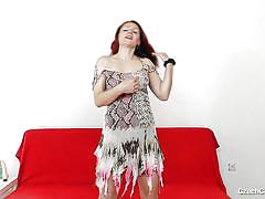 Delightful redhead mature plays solo